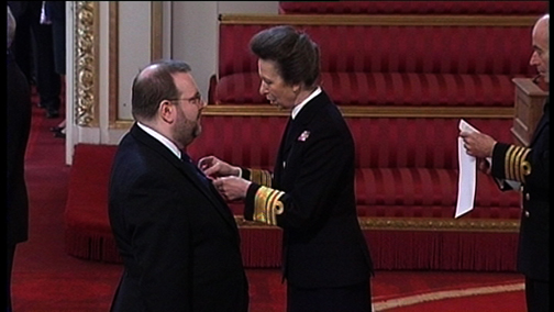 Edward receiving his OBE from HRH The Princess Royal at Buckingham Palace - October 2011