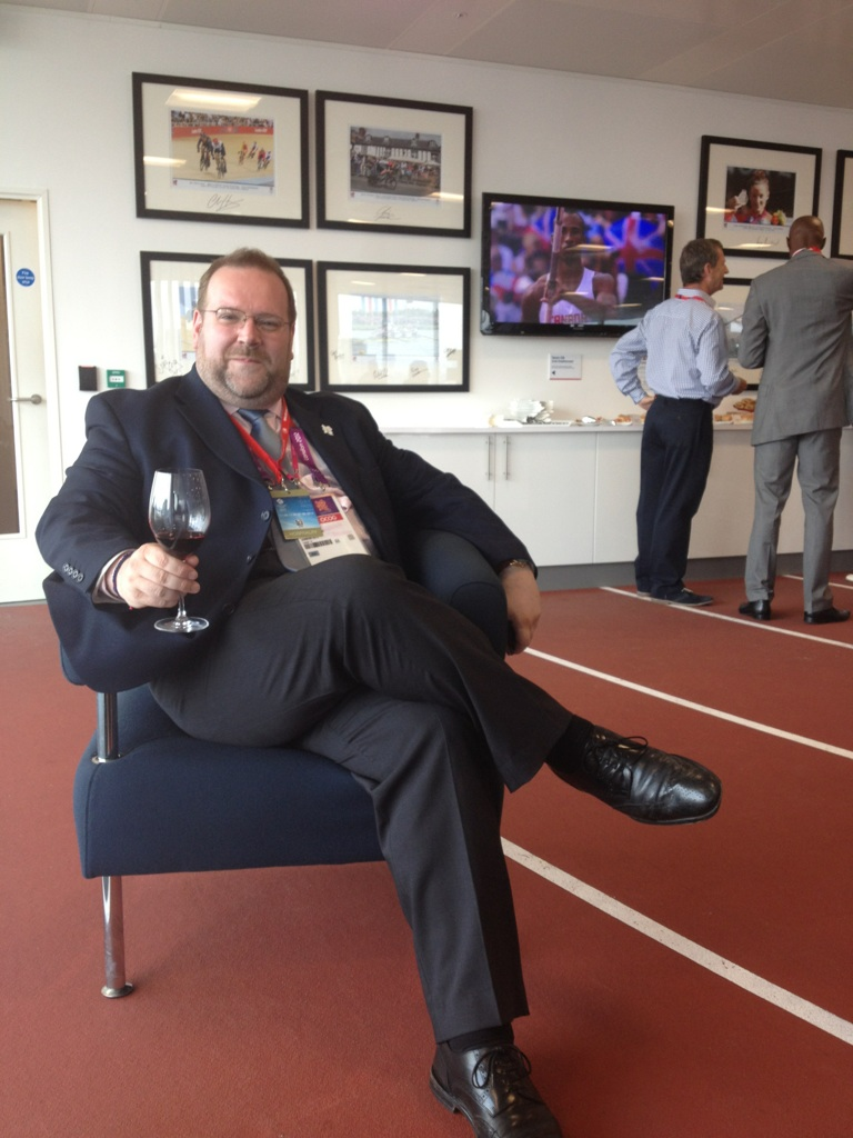 Possibly the only time Edward has been seen on an athletics track - with a drink in hand at Team GB House, Stratford. August 2012