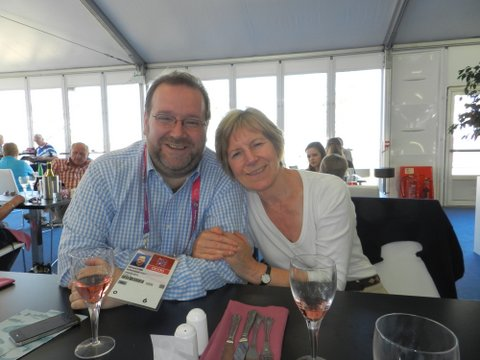 Edward and his mum, Vivienne Brittain, enjoying a drink at the Olympic Park. September 2012.