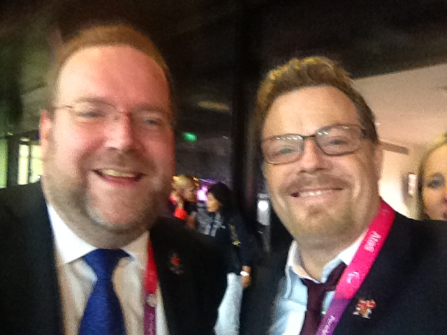 Celebrating another ParalympicsGB victory with Eddie Izzard. September 2012