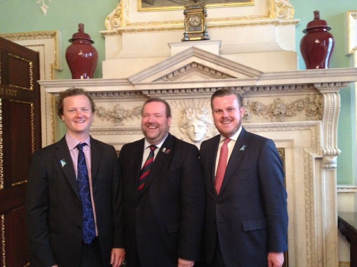 The City's Olympic Musketeers: Edward Lord, Sam Hutchings, and James North. At the Mansion House on the day of the Atheletes' Parade. September 2012.