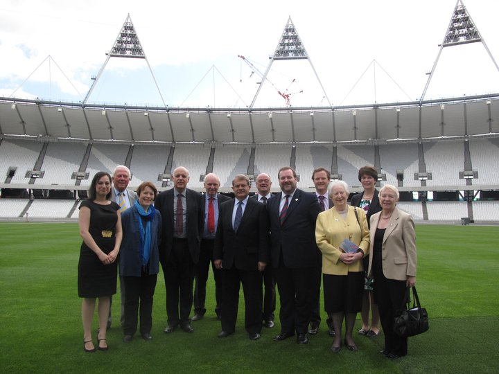 City of London 2012 Sub-Committee getting a sneak preview of the Olympic Stadium. May 2011.