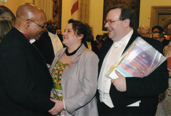 Edward with Laura Willoughby MBE meeting His Excellency The President of South Africa, Jacob Zuma, on his State Visit to the UK. March 2010
