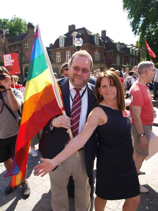 Edward with DFID Minister, Lynne Featherstone MP, celebrating the passing into law of the Marriage (Same Sex Couples) Bill. July 2013