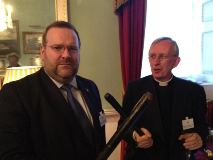Looking fierce - Edward and The Revd Dr Martin Dudley get serious at Mansion House. April 2012