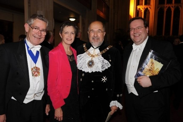 Edward with Cllr Dame Sally Powell DBE at the 2008 Lord Mayor's Banquet with The Lord Mayor, Alderman Ian Luder CBE and Past Sheriff Deputy Richard Regan OBE. November 2008