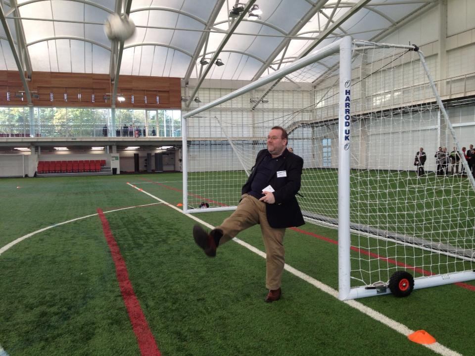 In an astonishing feat of athleticism, Lord actually makes contact with the ball in his first ever attempt at a goal kick. St George's Park. November 2013