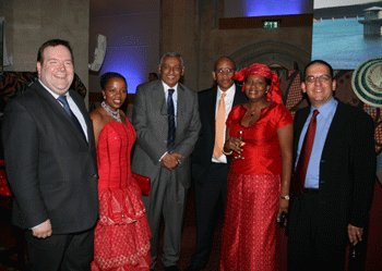 Edward with the the Dean of the Diplomatic Corps, the Ambassador of Kuwait Khaled Al Duwaisan, The High Commissioner for Lesotho HRH Prince Seeiso Bereng Seeiso, HRH Princess Mabereng Seeiso and Young Diplomats in London President Bernard Hamilton (Deputy High Commissioner for Malta). Guildhall, August 2009