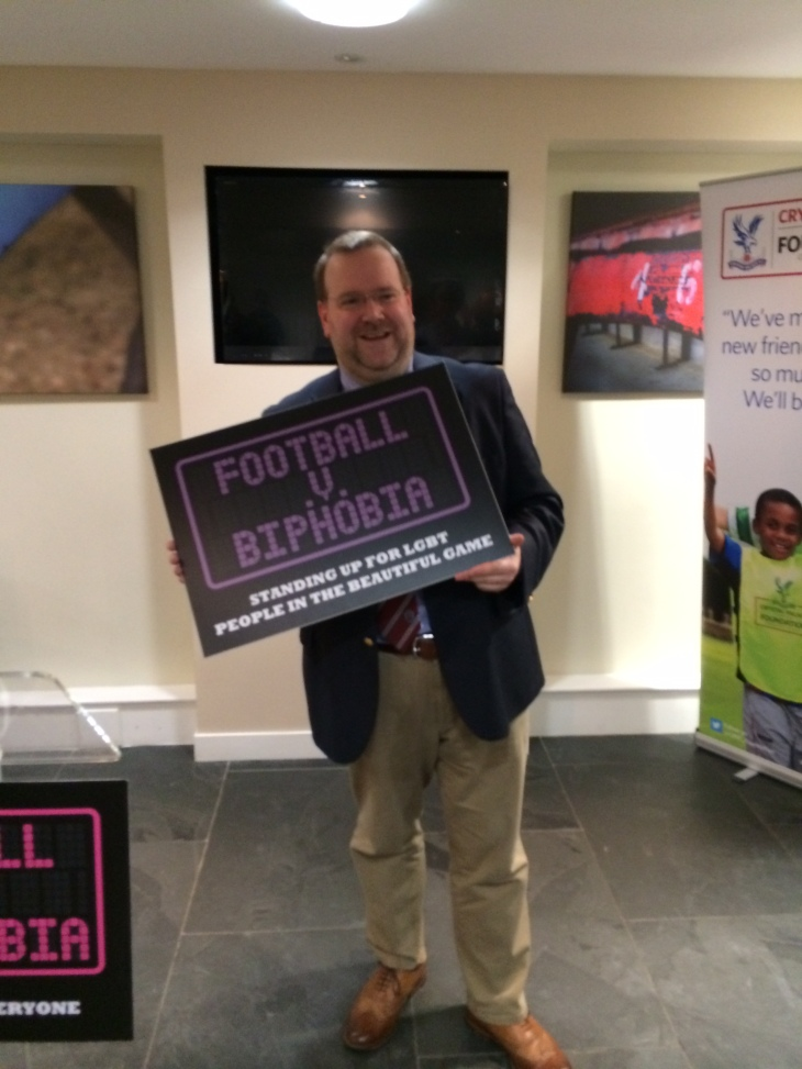 At the launch of the Football versus Homophobia, Biphobia, and Transphobia Campaign at selhurst Park, home of Crystal Palace FC. January 2014