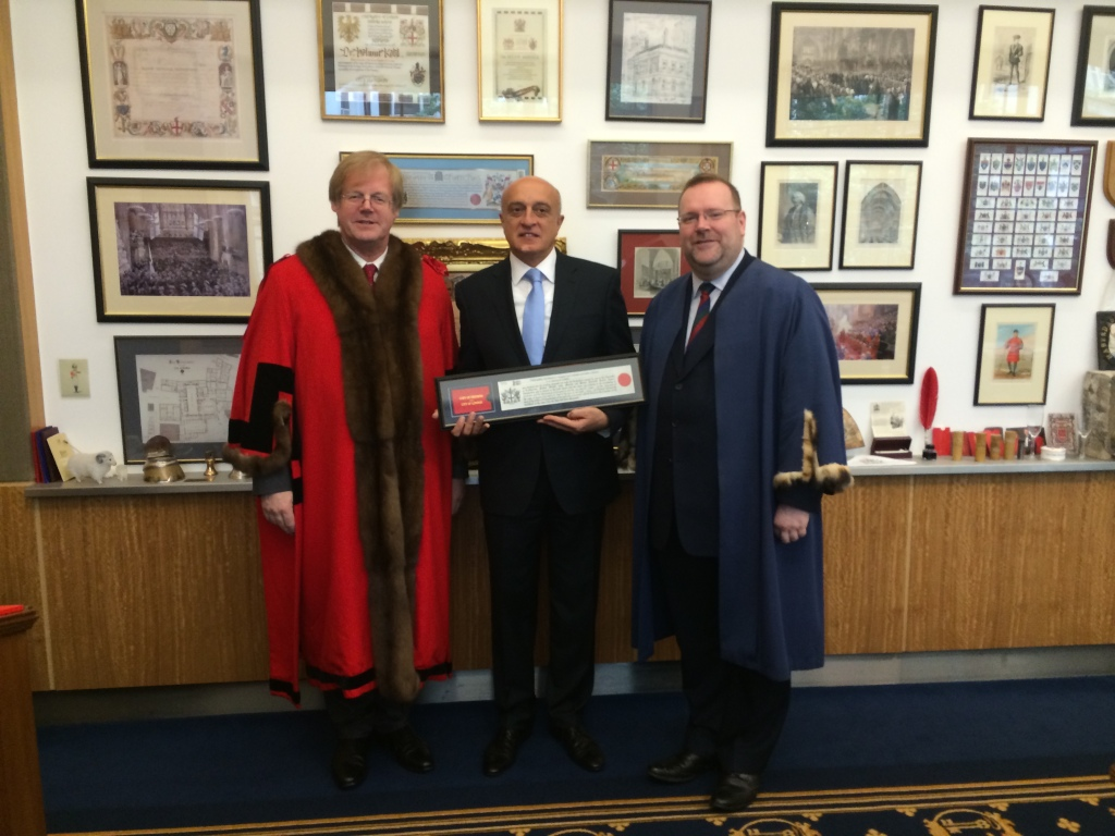 With Sir David Wootton celebrating the Freedom of the City of London being awarded to my old friend HE Fakhraddin Gurbanov, Ambassador of Azerbaijan, shortly before his return to Baku. 3 June 2014