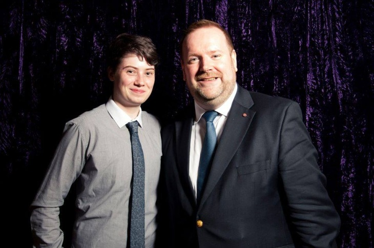 With friend and mentee and LGBT activist, Tanner Gibbins-Klein at the launch of the Purple Reign LGBT (and allies) role models photographic exhibition launch - Mansion House, 13 June 2014