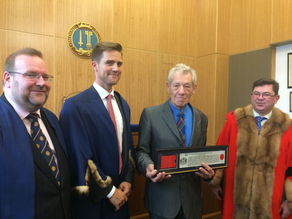 Celebrating the Freedom of the City of Sir Ian McKellan CH CBE with Alderman Tim Hailes and Tom Sleigh CC - Thursday 30 October 2014
