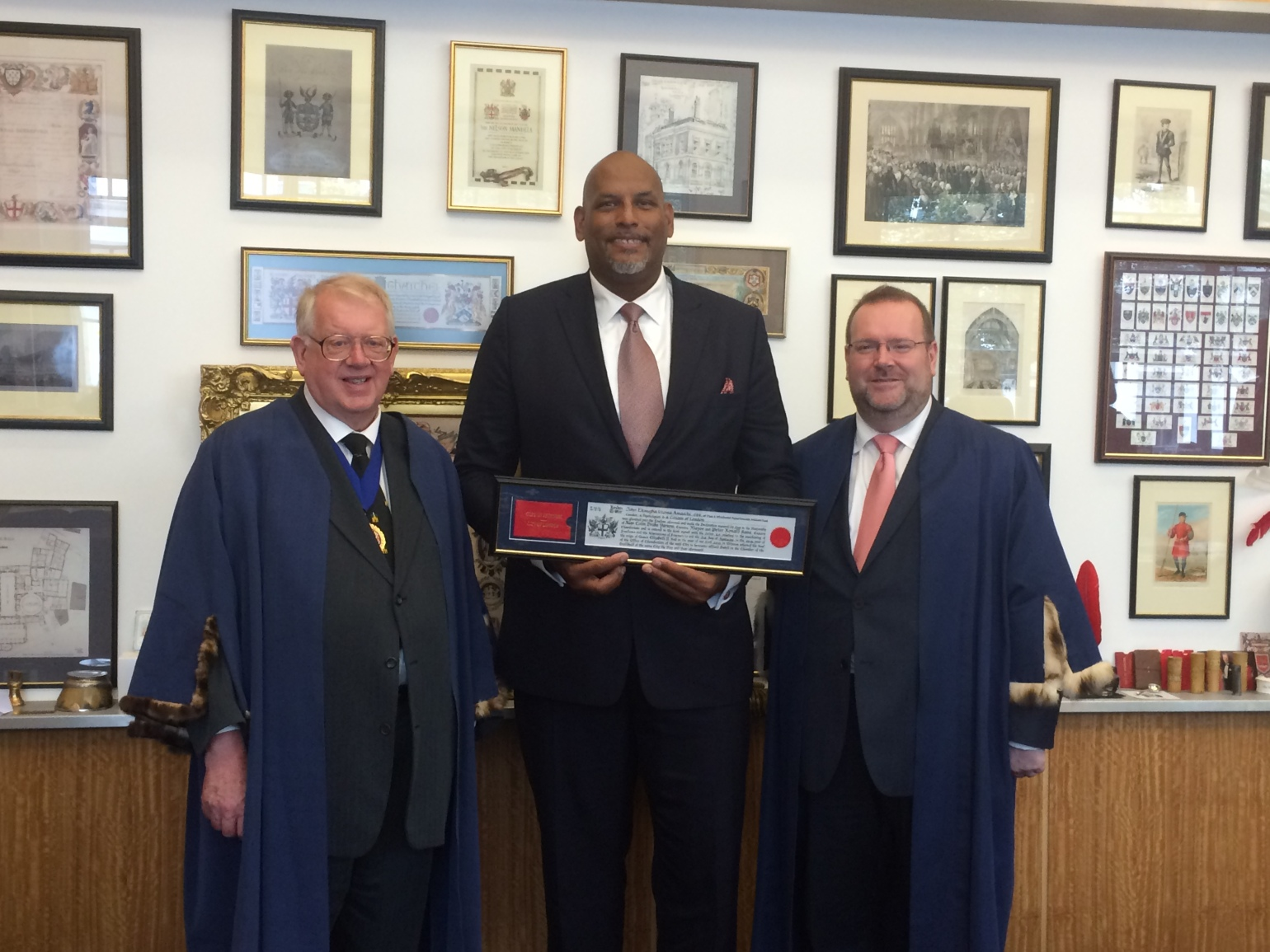 Celebrating basketball star and diversity campaigner John Amaechi OBE receiving the freedom of the City of London, along with the Chief Commoner Billy Dove OBE JP