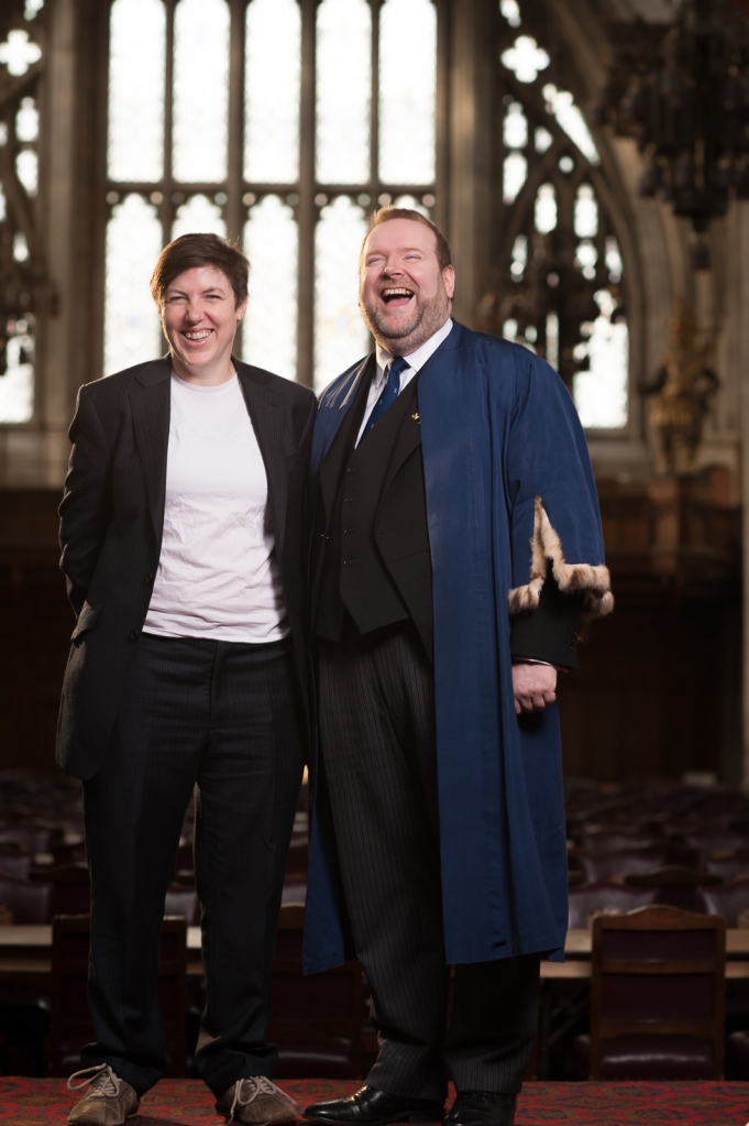 With Meg, enjoying a lighthearted moment in a photoshoot with Charlotte Barnes. Guildhall, December 2013.