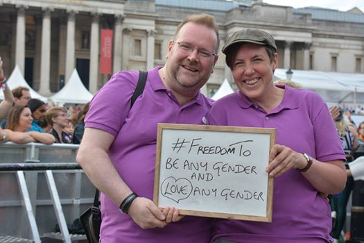 With Meg at Pride in London on 28 June 2014, just after we had spoken on the main stage in Trafalgar Square