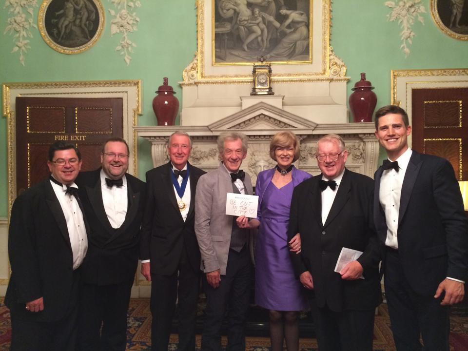 With the Lord Mayor of London, Alderman Dame Fiona Woolf DBE; Sir Ian McKellan CH CBE; the Chief Commoner, Deputy John Bennett; Deputy Billy Dove OBE JP; Alderman Tim Hailes JP; and Tom Sleigh CC, at the Pride in London Gala Dinner, Mansion House: 25 June 2014