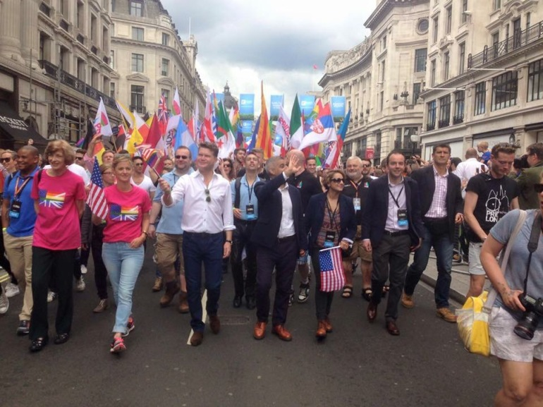 At the head of the Pride in London Parade, 25 June 2016, with HE the Ambassador of the United States of America, Matthew Barzun, and the Mayor of London, Sadiq Khan
